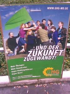 Wahlhampfplakat der GHG zur Gremienwahl 2008