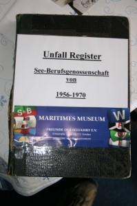Unfallregister. Freunde der Seefahrt Emden (Anklicken für größere Ansicht)