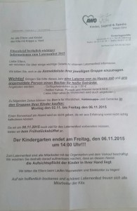 Elternbrief des Kindergartens. Mit angebotenen Alternativen zur Wurst.